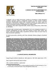 Jelentés a Szegedi Fegyház és Börtönben tett látogatásról - Magyar ...