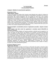 Prix Égalité 2009 - Liste des projets finalistes - Secrétariat à la ...