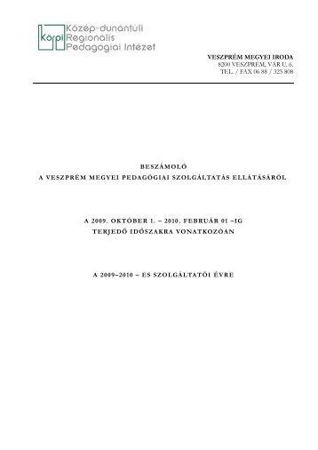 A Viéta Közhasznú Társaság beszámolója a szakmai szolgáltatási ...