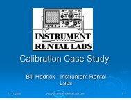 Calibration Case Study - Instrument Rental Labs