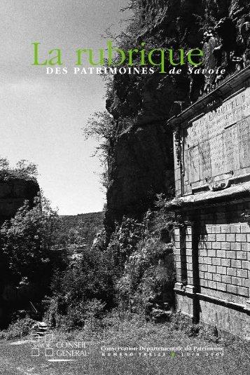 DES PATRIMOINES de Savoie - Conseil Général de Savoie