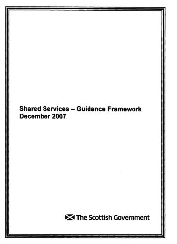 Shared Services - Guidance Framework - Scottish Government