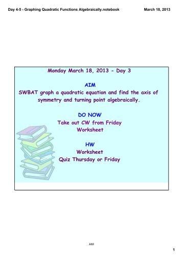 Algebra Review Quadratic Functions Worksheet-01
