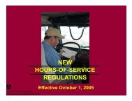 NEW HOURS OF SERVICE HOURS-OF-SERVICE REGULATIONS