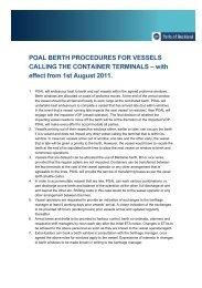 Berth Procedures - August 2011