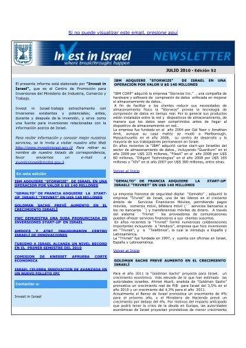 Si no puede visualizar este email, presione aquí - Invest in Israel