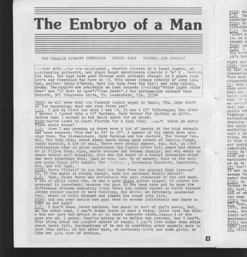 The Embryo of a Man - Charlie Pickett