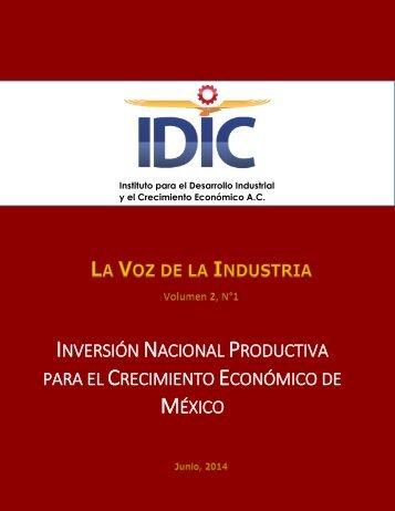 06_20_Documento. Voz de la Industria. Inversión nacional productiva para el crecimiento económico de México, 26-04-2014