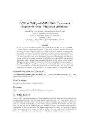 DCU at WikipediaMM 2009: Document Expansion from Wikipedia ...