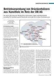 Betriebserprobung von Brückenhölzern aus Kunstholz im Netz der ...