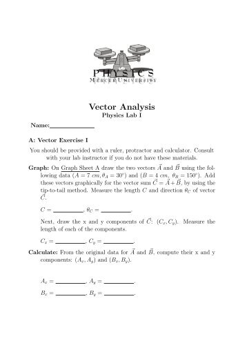 Vector Analysis - Mercer University Physics