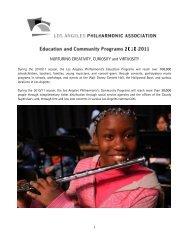 Education & Community Fact Sheet - Los Angeles Philharmonic