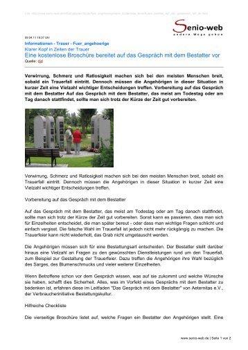 Eine kostenlose Broschüre bereitet auf das Gespräch ... - Senio-Web