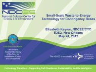 Small-Scale Waste-to-Energy Technology for Contingency ... - NDCEE