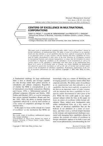 CENTERS OF EXCELLENCE IN MULTINATIONAL CORPORATIONS