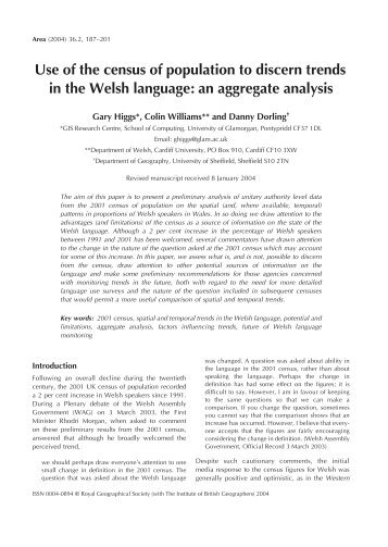 Use of the census of population to discern trends in the Welsh ...