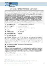 unv volunteer description of assignment - United Nations Volunteers