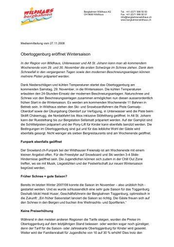 Obertoggenburg eröffnet Wintersaison