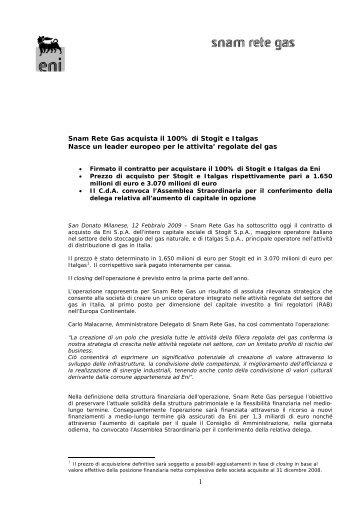 Snam Rete Gas acquista il 100% di Stogit e Italgas Nasce un leader ...