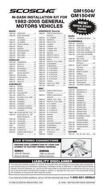 gm1504/ gm1504w 1982-2005 general     - scosche industries