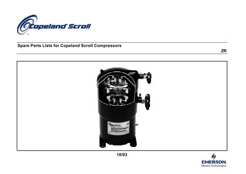 Spare Parts Lists for Copeland Scroll Compressors