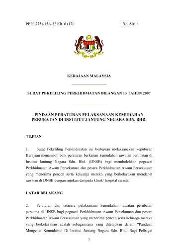 Pindaan Peraturan Pelaksanaan Kemudahan Perubatan Di Institut ...