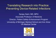Dr. Sanjay Saint's Presentation - SAFER California Healthcare