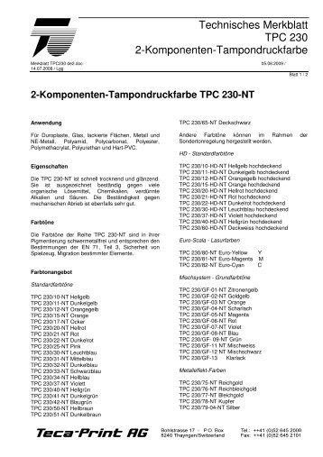 Merkblatt TPC 230 - Teca-Print AG