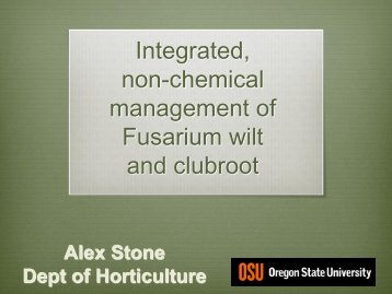 Integrated, non-chemical management of Fusarium wilt and clubroot