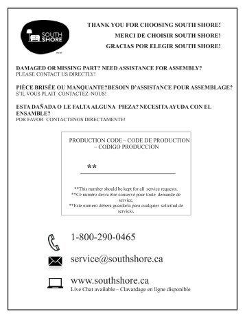 1-800-290-0465 service@southshore.ca www ... - Home Depot