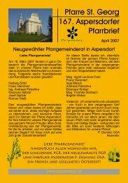 Pfarre St. Georg 167. Aspersdorfer Pfarrbrief - Pfarre Aspersdorf