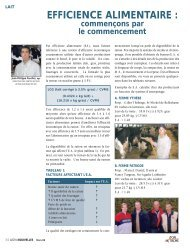 EFFICIENCE ALIMENTAIRE : - Agri-Marché