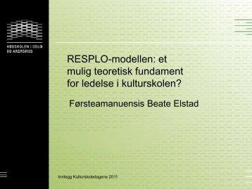 RESPLO-modellen: et mulig teoretisk fundament for ledelse i ...
