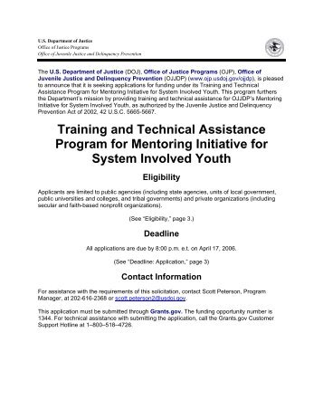 Training and Technical Assistance Program for Mentoring Initiative ...