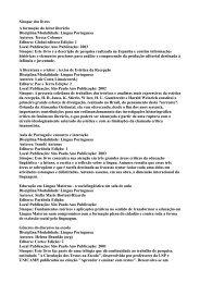 Sinopse dos livros A formação do leitor literário Disciplina/Modalidade