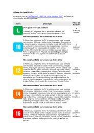 Faixas de classificação De acordo com a PORTARIA nº ... - MultiRio