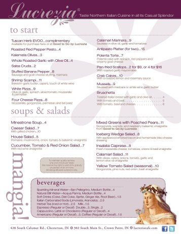 Menu PDF - Lucrezia Cafe and Catering