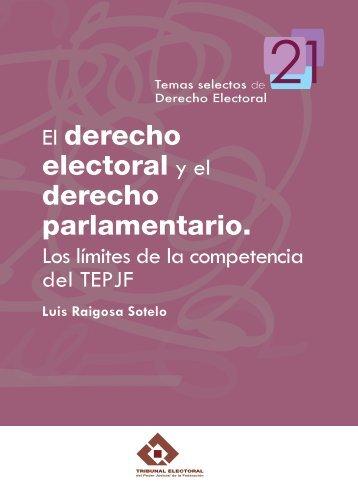 El derecho electoral y el derecho parlamentario. Los límites de la ...