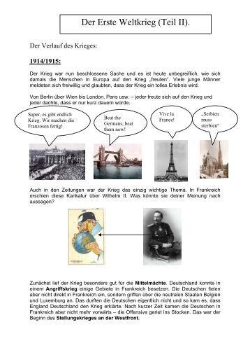 Der Erste Weltkrieg (Teil II).