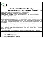 WiFi Authentication Guide For StudentNet Using Windows Vista