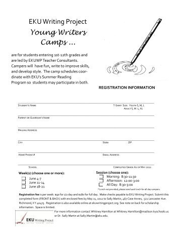 """Registration Form for """"Young Writers Camps"""" - Madison County ..."""