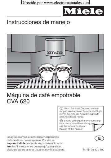 Instrucciones de manejo Máquina de café empotrable CVA 620