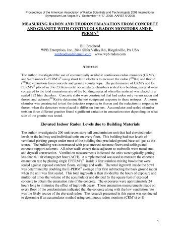 measuring radon and thoron emanation from concrete ... - Aarst.com