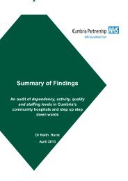 An audit of dependency, activity, quality and staffing levels in ...