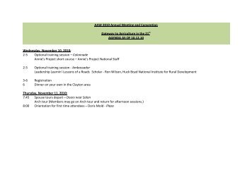AAW 2010 Convention Draft Outline Agenda(8 - American Agri ...