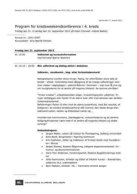Program for kredsweekendkonference i 4. kreds