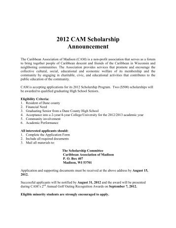 2012 CAM Scholarship Announcement - African American ...