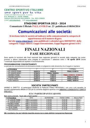 Provvedimenti disciplinari - CSI Parma