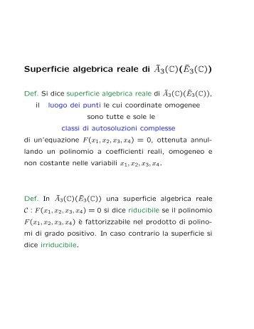 Superficie algebrica reale di ˜A3(C)( ˜E3(C))