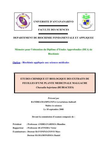 UNIVERSITE D'ANTANANARIVO FACULTE DES SCIENCES ...